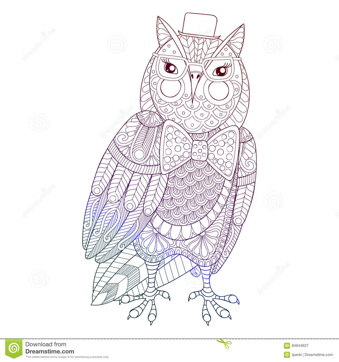 zentangle owl painting for anti stress coloring page stock