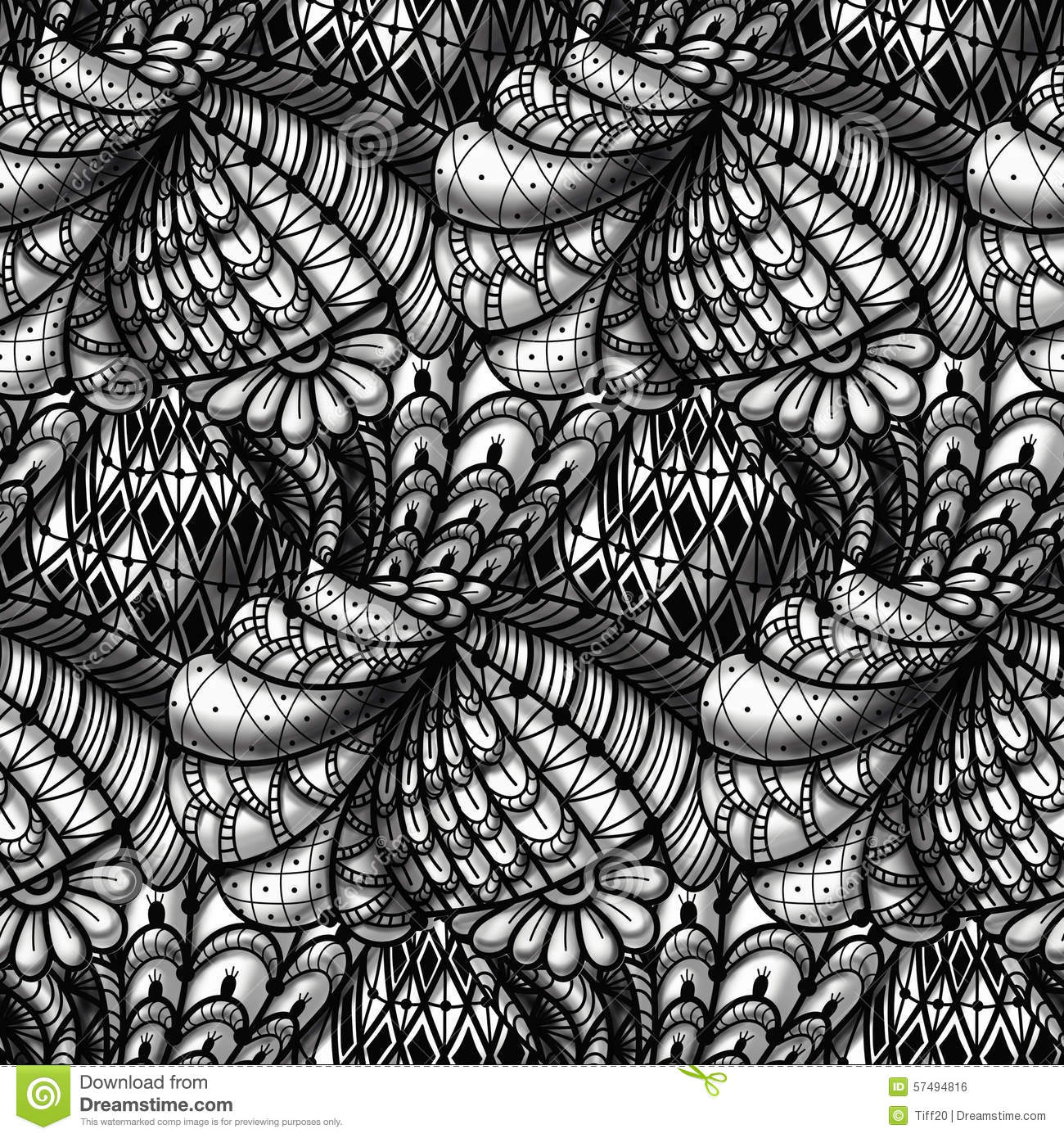 Monochrome hand drawn seamless pattern in style zentangle.