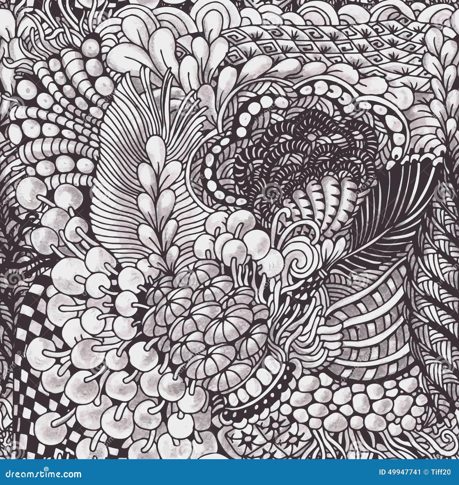zentangle pattern monochrome hand drawn seamless style vector 49947741