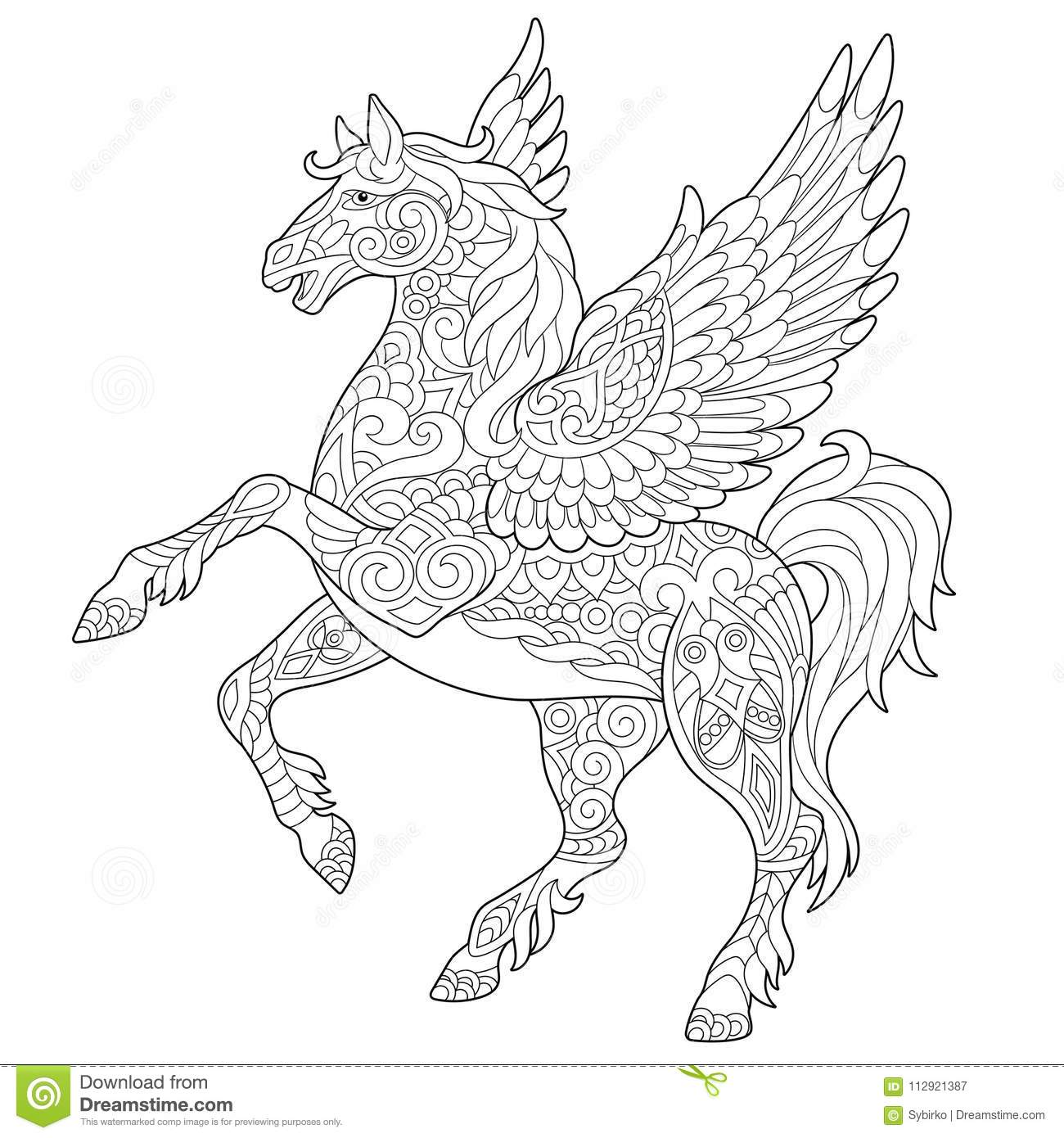 Royalty Free Vector Download Zentangle Pegasus Horse