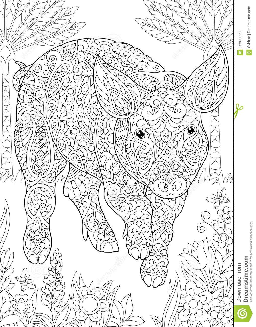 Coloring page coloring book colouring picture with pig cute piggy 2019 chinese new year symbol antistress freehand sketch drawing with doodle and