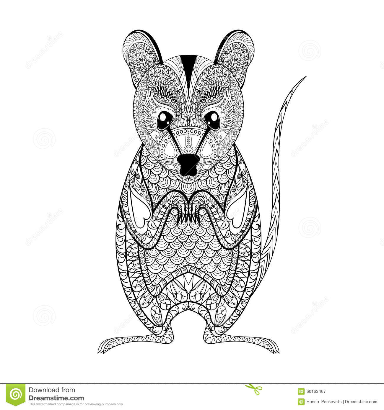 Anti stress coloring therapy - Royalty Free Vector Download Zentangle Possum Totem For Adult Anti Stress Coloring