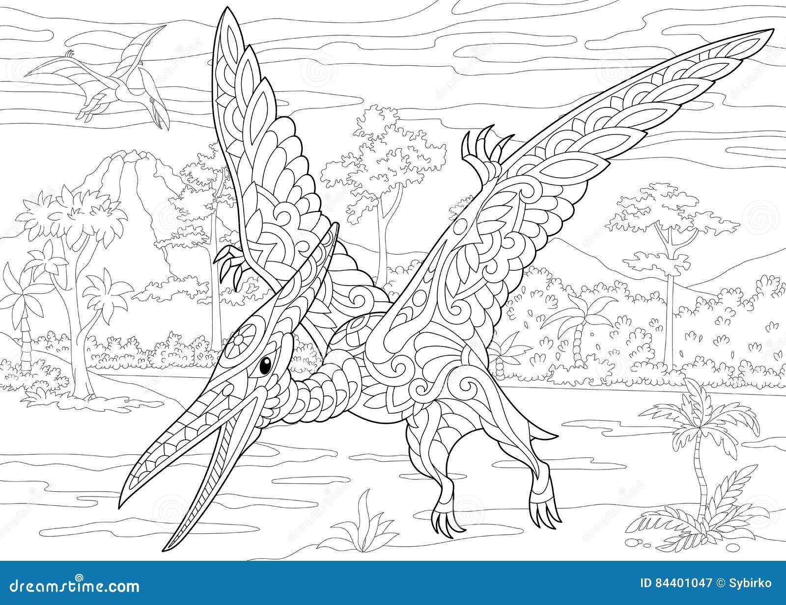 zentanglepterodaktylusdinosaurier vektor abbildung