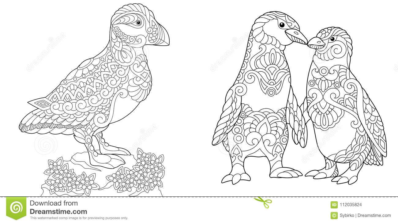 Zentangle Puffin And Emperor Penguins Stock Vector - Illustration of ...