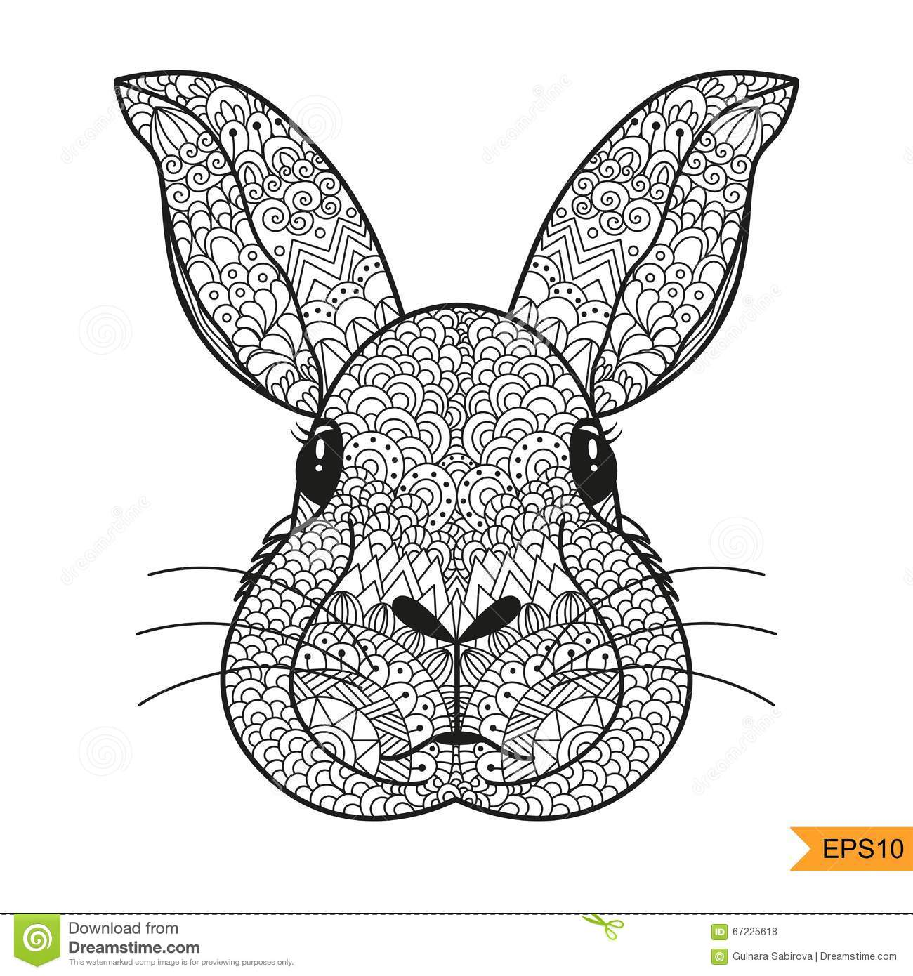 Zentangle Rabbit Head For Adult Antistress Coloring Page Stock