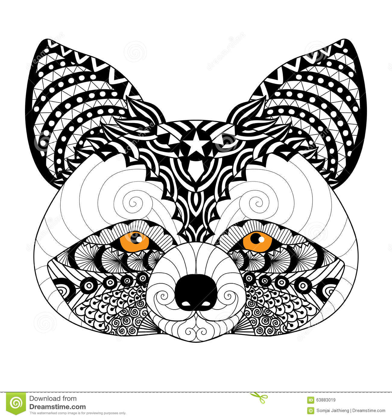 Zentangle Raccoon For Coloring Page For Adult Tattoo Logo