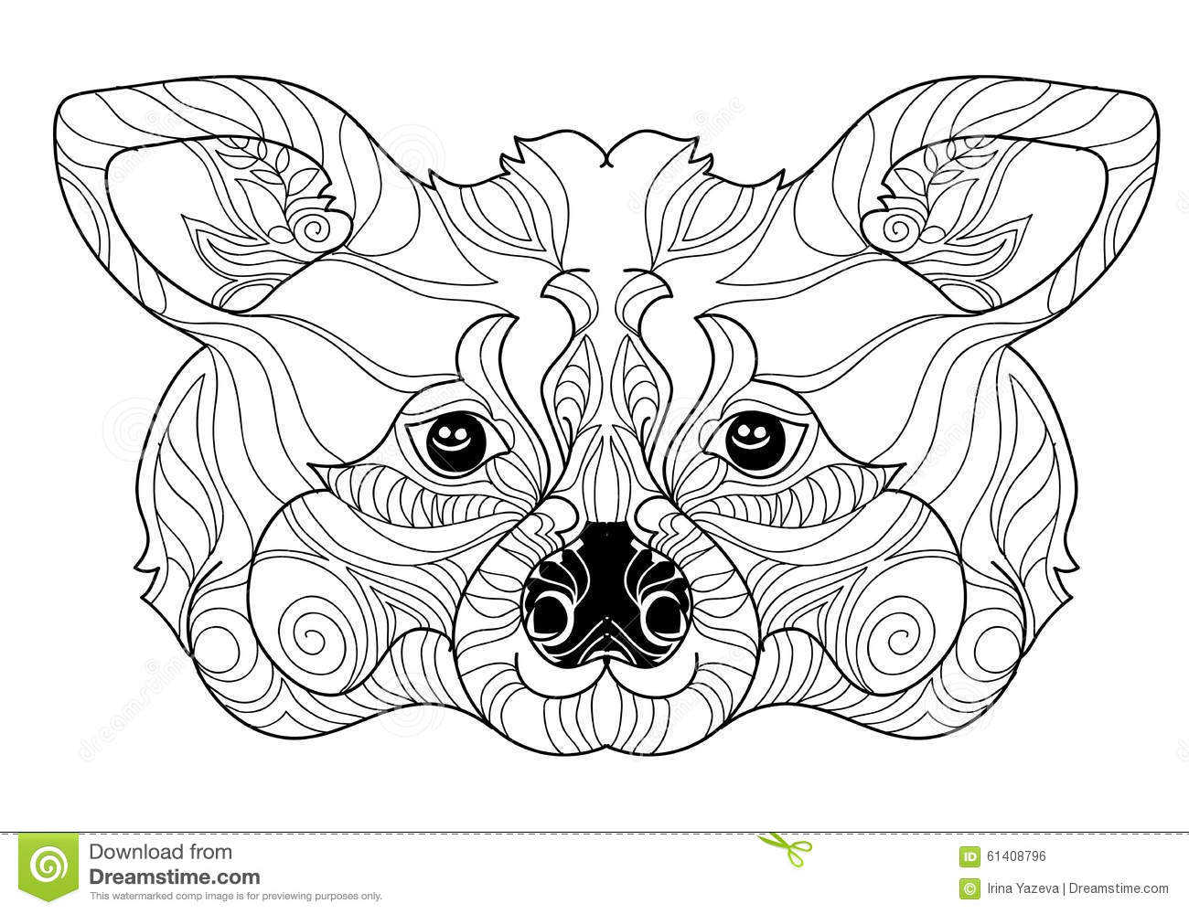 zentangle raccoon head doodle hand drawn stock vector image