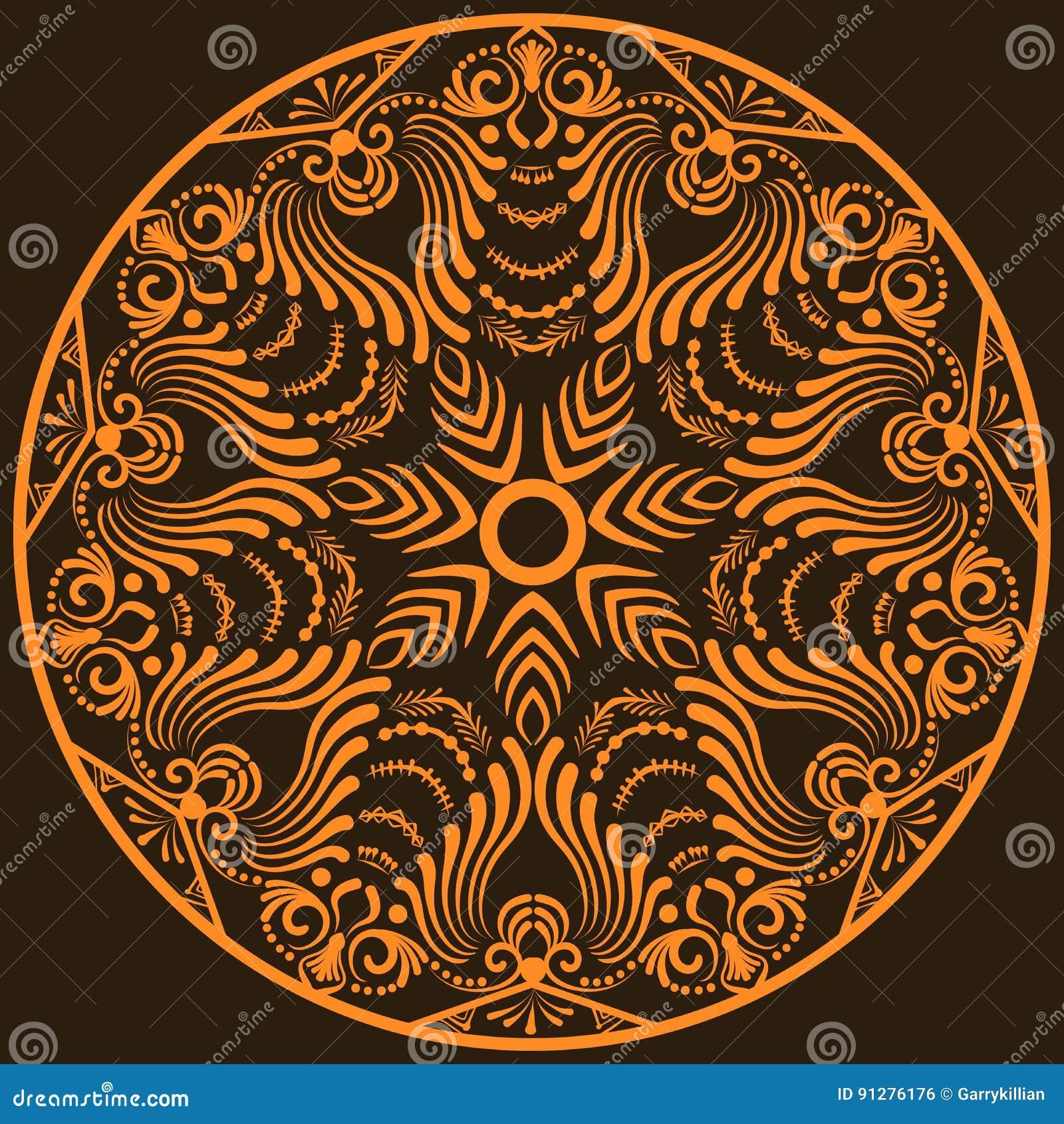 Zentangle rund blom- prydnad Snör åt den dekorativa rundan för vektorn med arabesquebeståndsdelar Mehndi stil