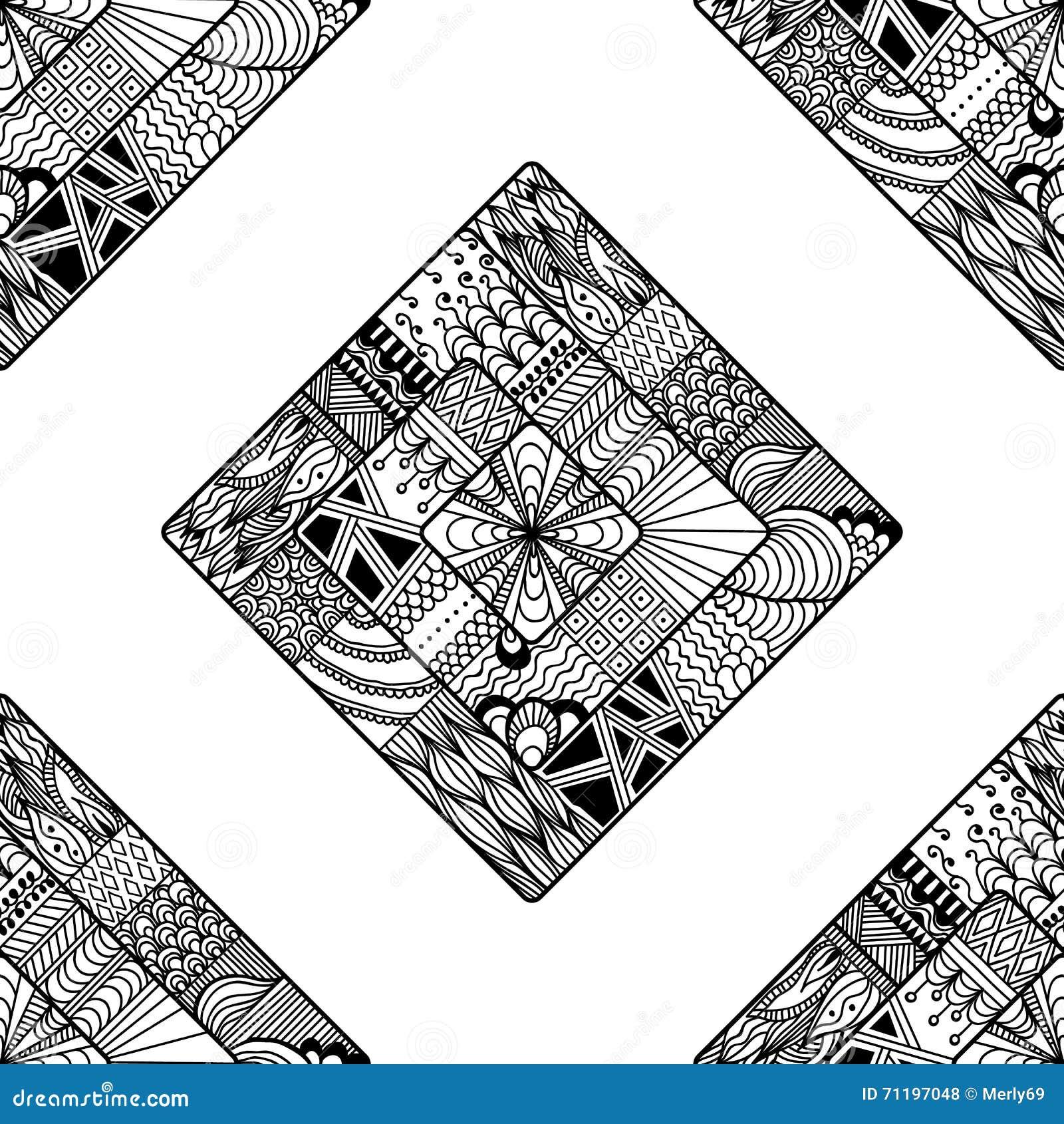 Zentangle Seamless Pattern  Doodle, Mandala  Stock Vector