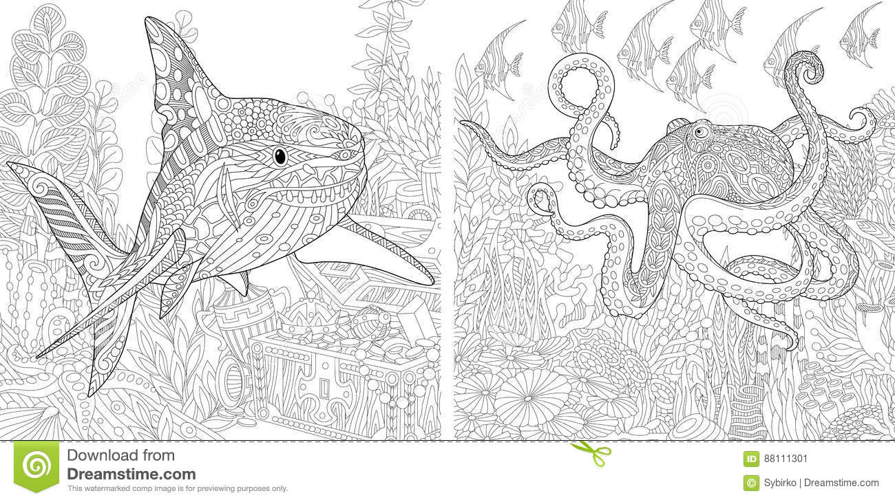 83e0f95f7234a Stylized composition of underwater shark, octopus poulpe, tropical fish,  seaweed, treasure chest with gold. Set collection for adult anti stress  coloring ...