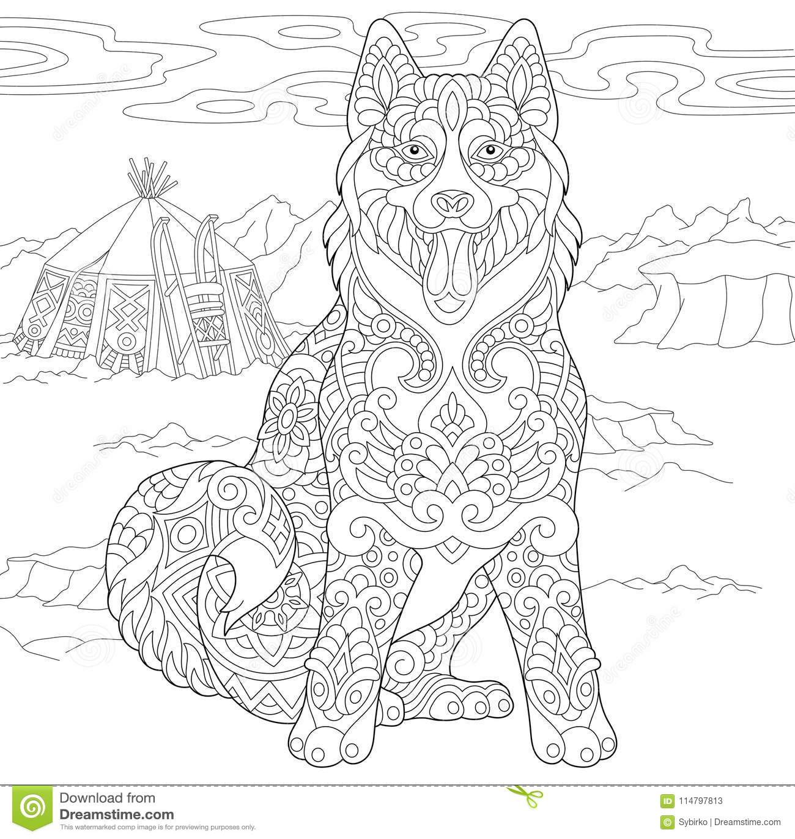Zentangle Siberian Husky Dog Stock Vector - Illustration of freehand ...