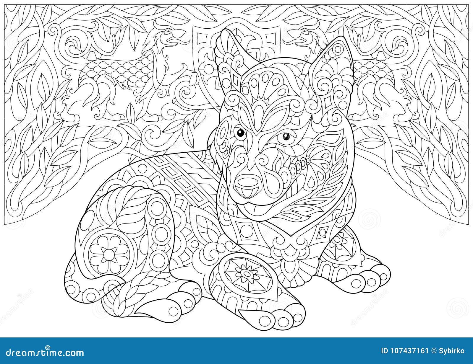 Zentangle Siberian Husky And Heraldic Dogs Stock Vector ...