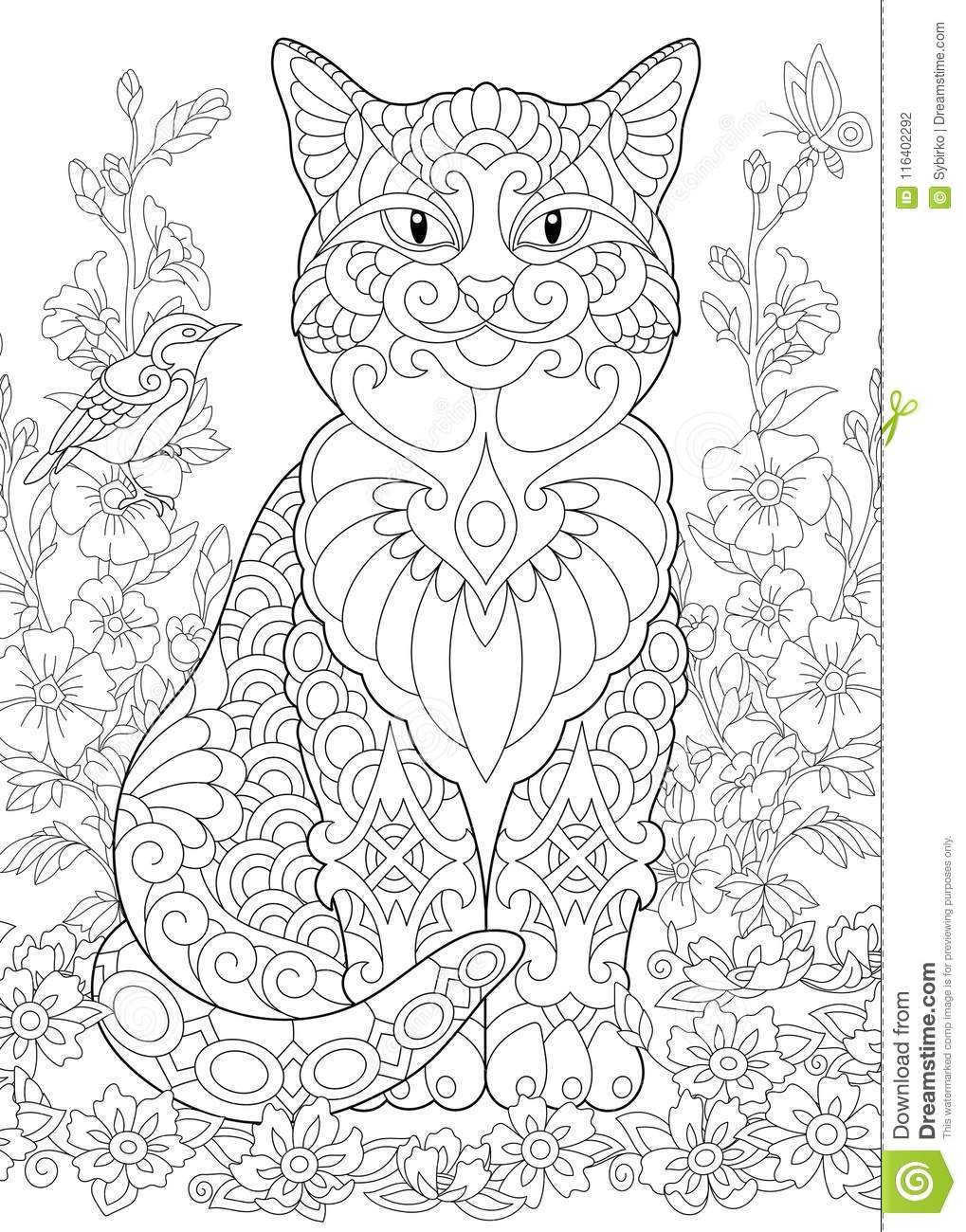 Zentangle spring cat stock vector. Illustration of background