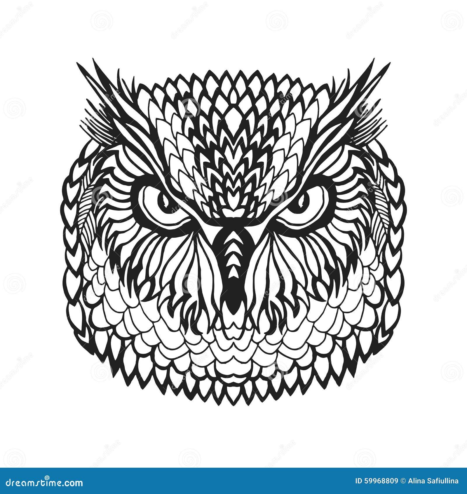 Zentangle stiliserade huvudet för örnugglan Stam- skissa för tatuering eller t-skjorta
