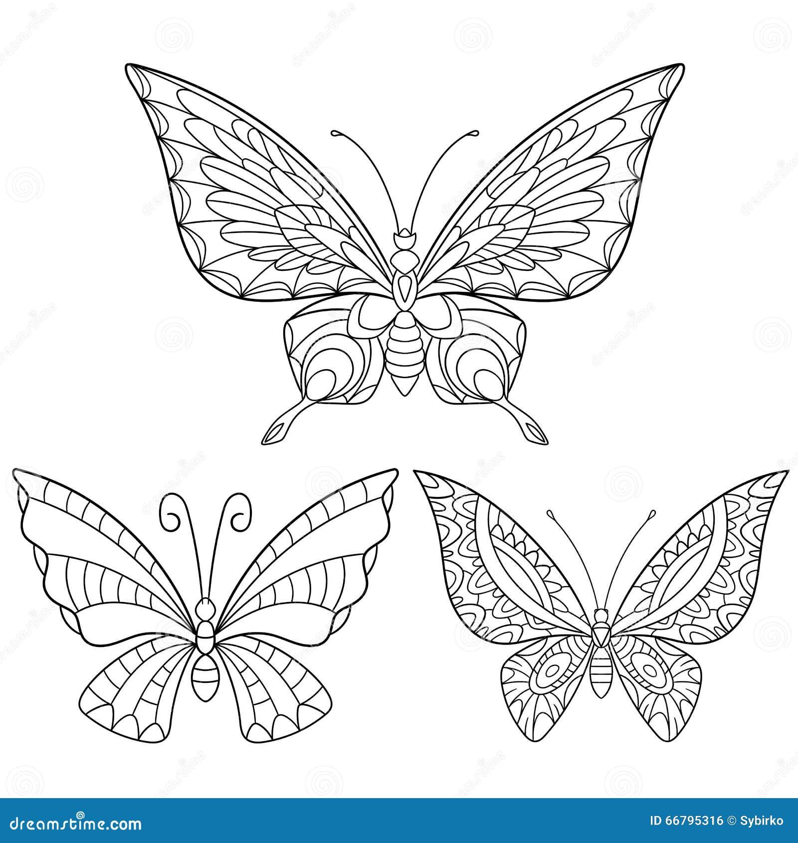 Zentangle stiliserade samlingen av tre fjärilar