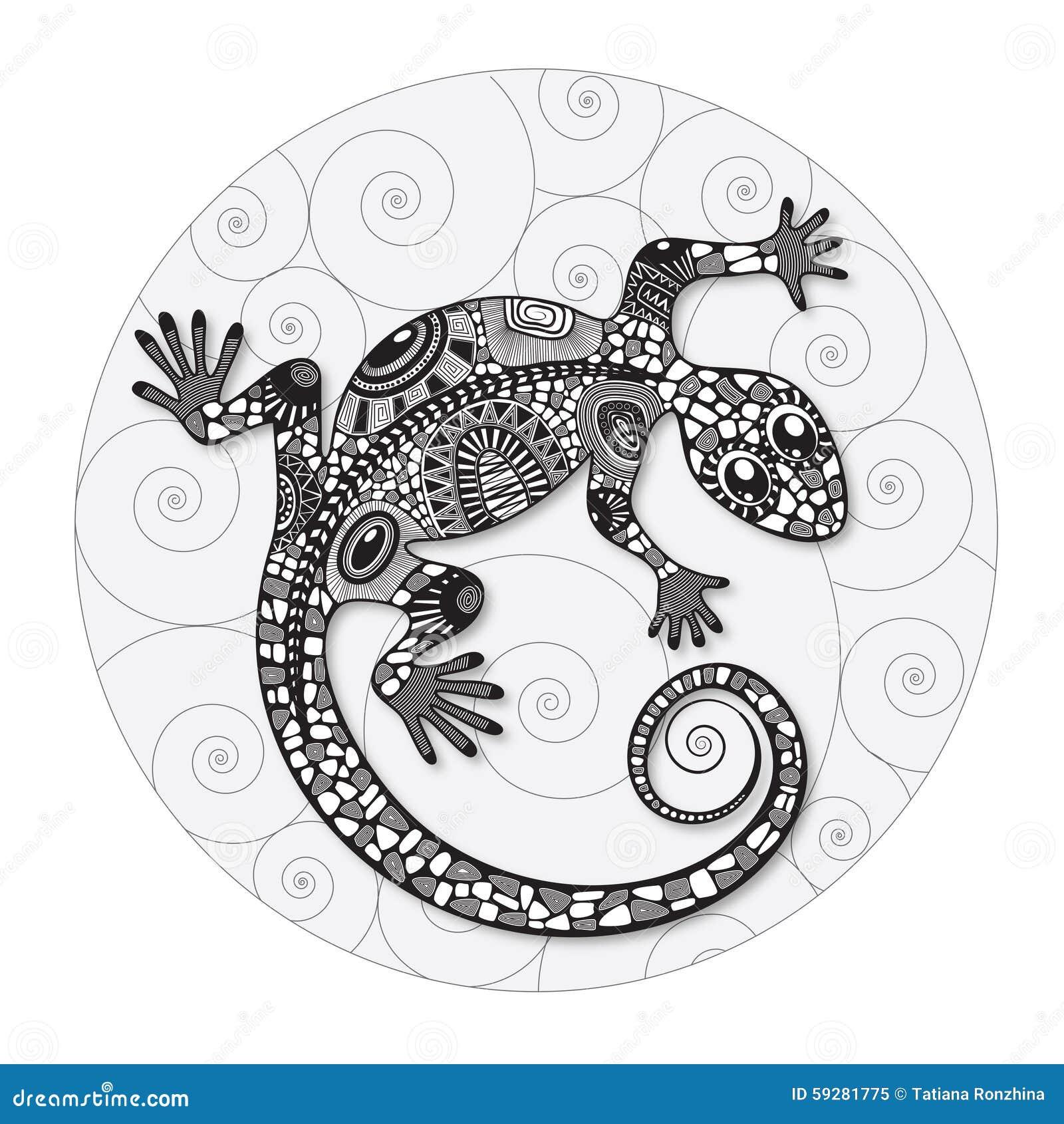 Zentangle stiliserade teckningen av en ödla