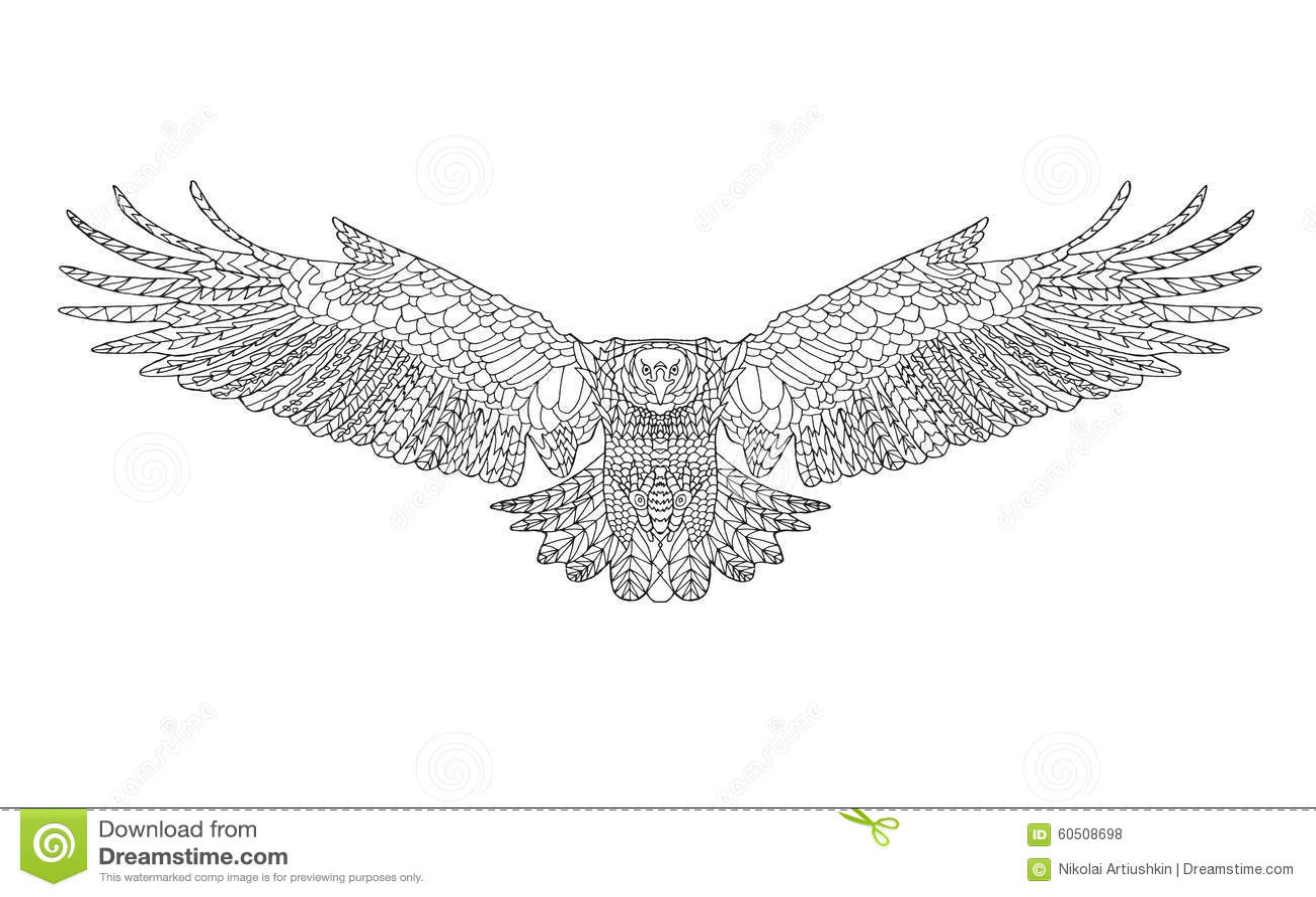 Zentangle stilisierte adler skizze f r f rbungsseite for Design hochbett fa r erwachsene