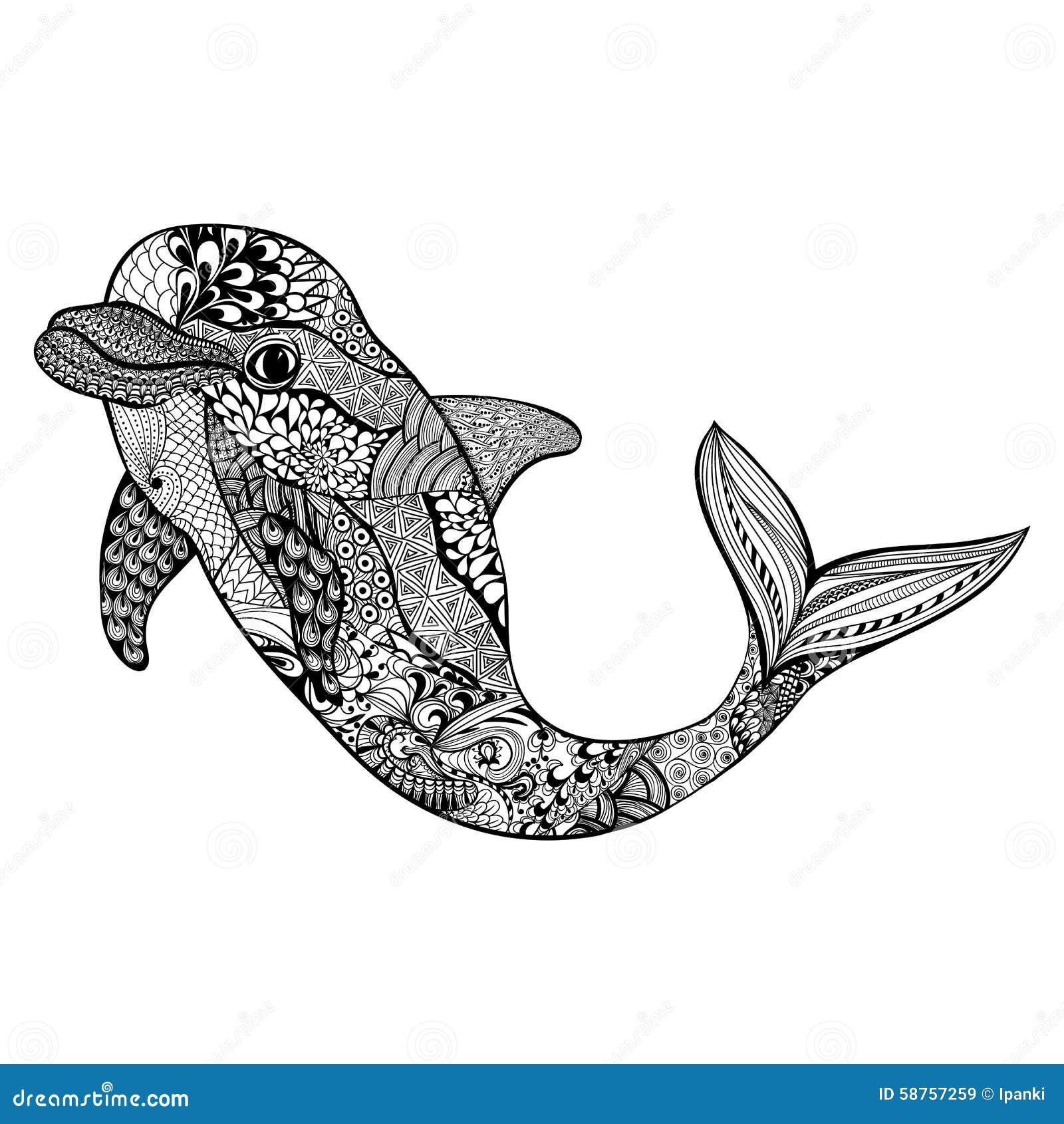 Zentangle Stilisierte Delphin Hand Gezeichneter