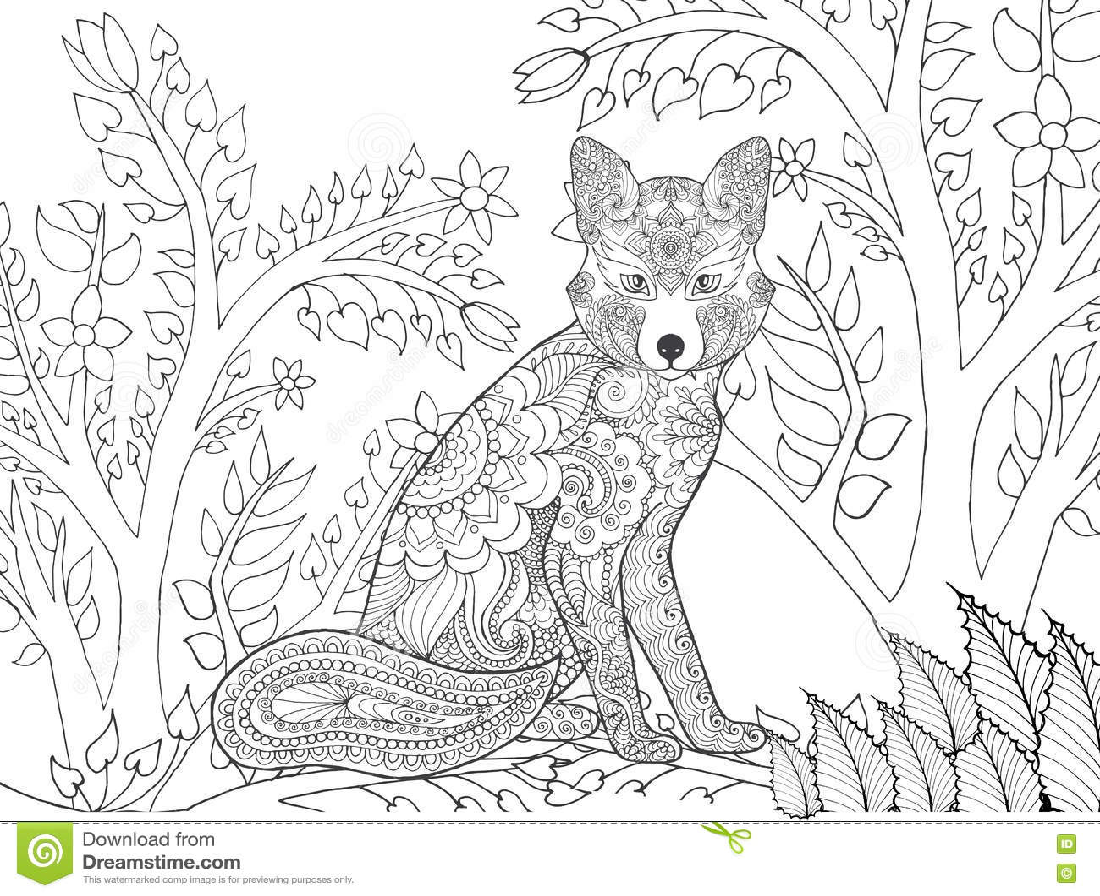 Zentangle stilisierte Fuchs im Fantasiewald
