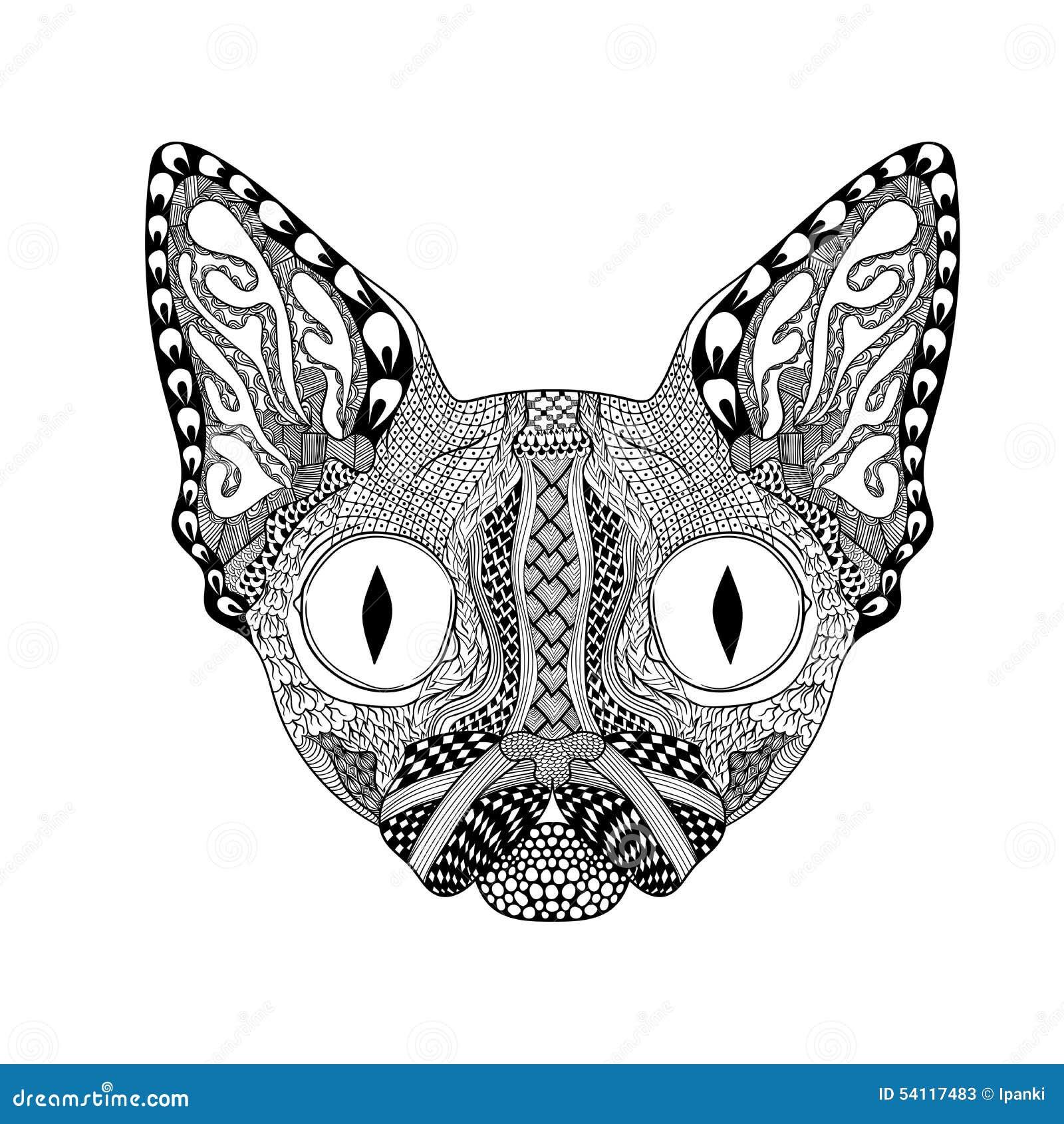 zentangle stilisierte gesicht der schwarzen katze hand