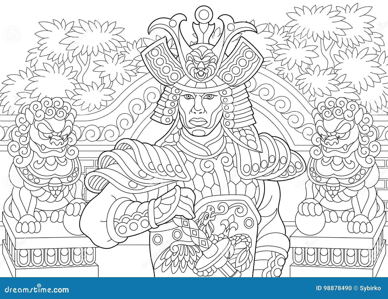 Zentangle Stilisierte Japanische Samurais Vektor Abbildung ...
