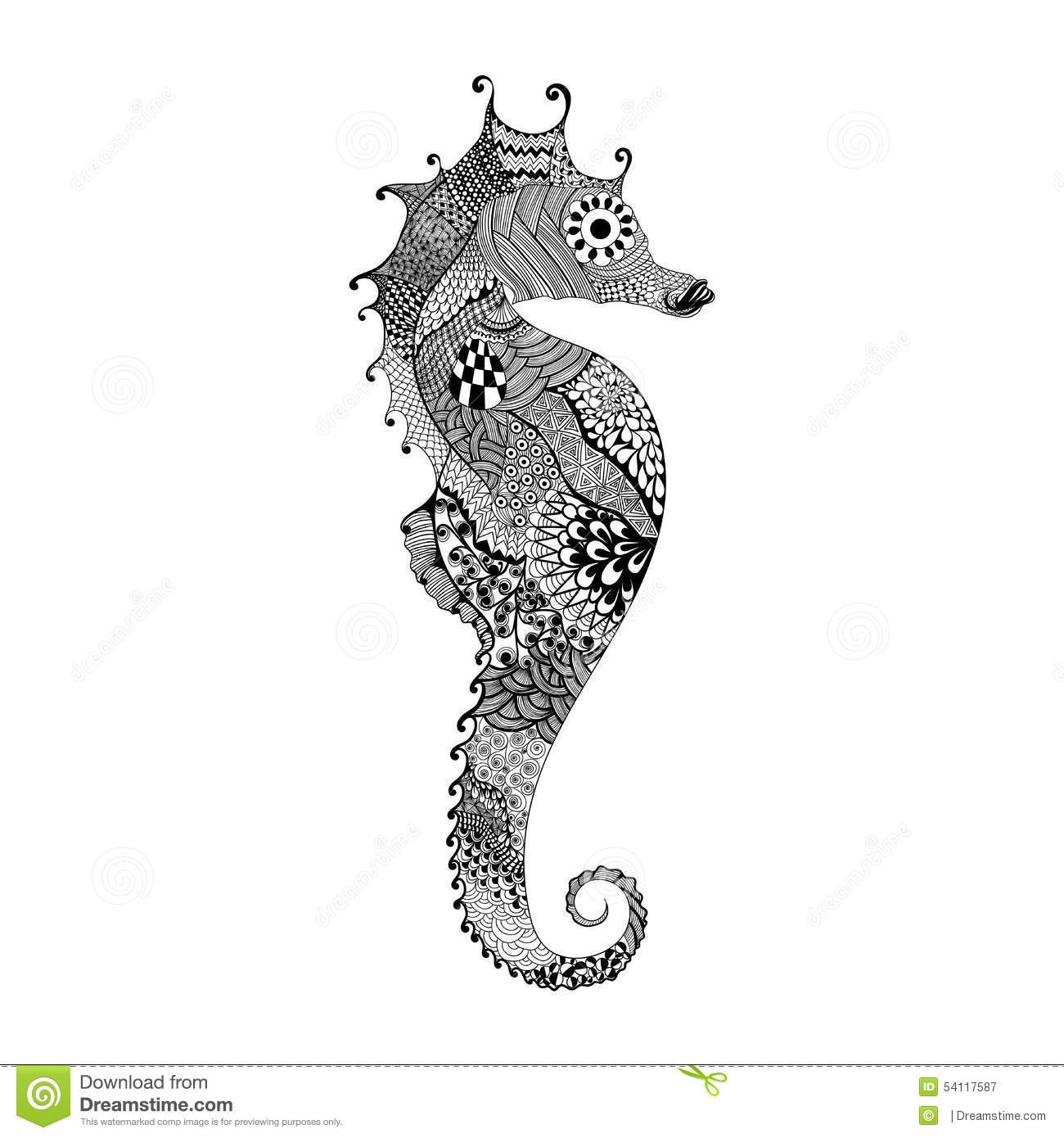 Realistic Seahorse Coloring Pages