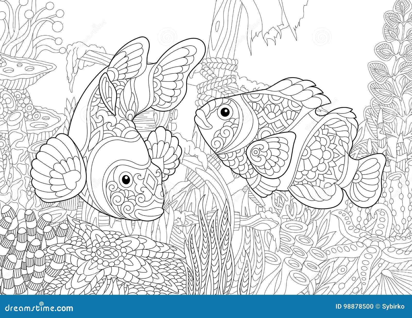 zentangle stilisierte unterwasserwelt vektor abbildung