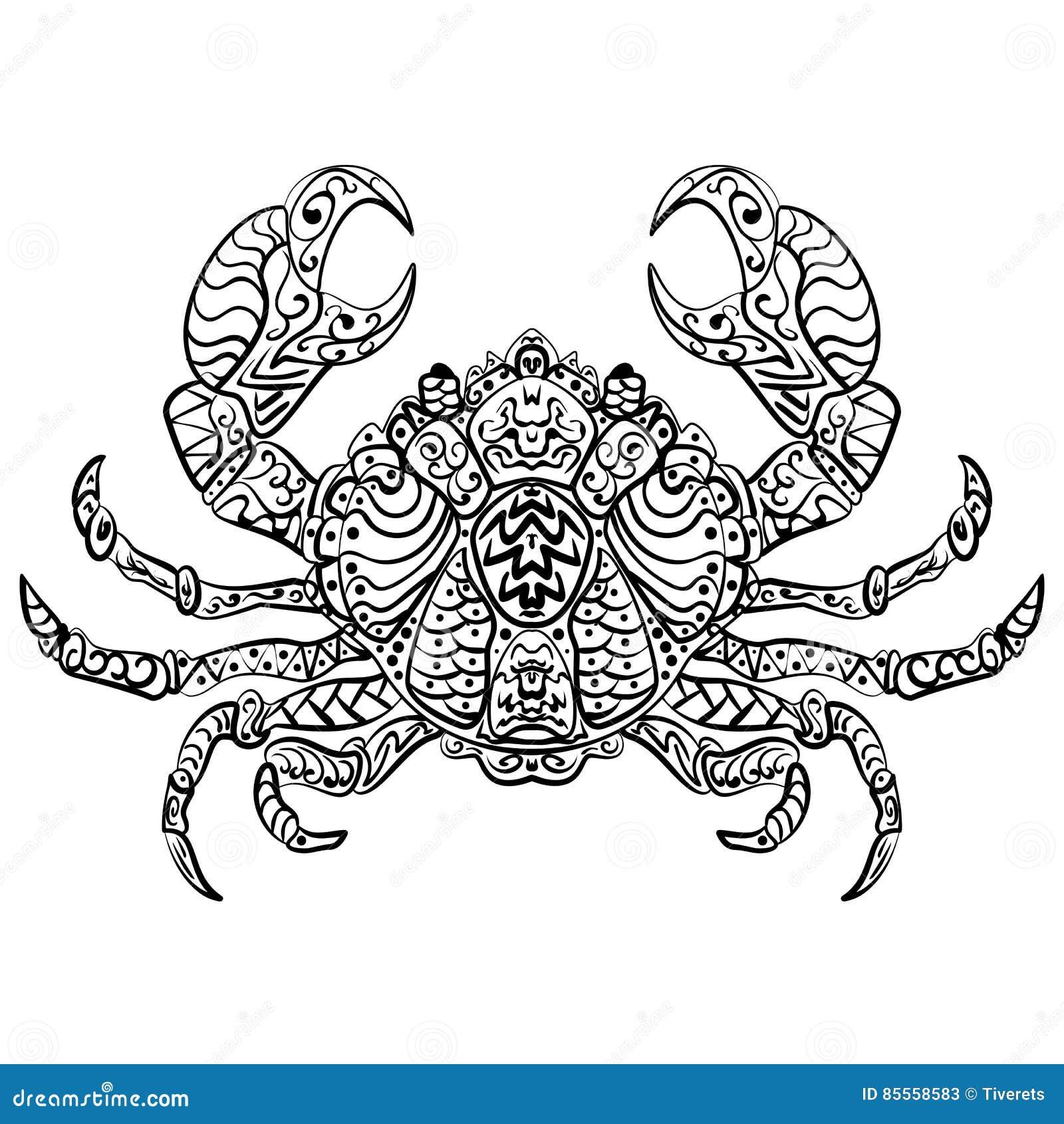 Zentangle stilisierte Vektorillustrationskrabbe