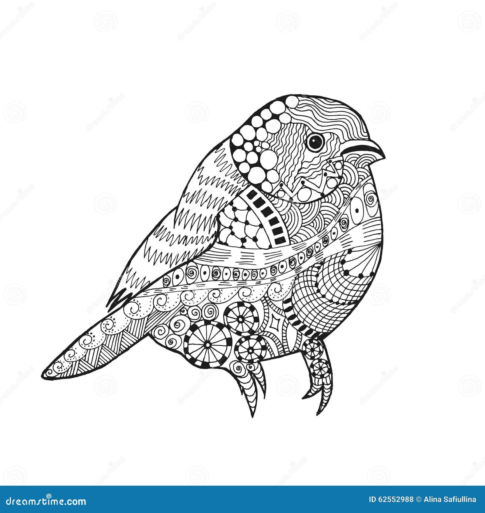 Parkiet Kleurplaat Zentangle Stilisierte Vogel Vektor Abbildung