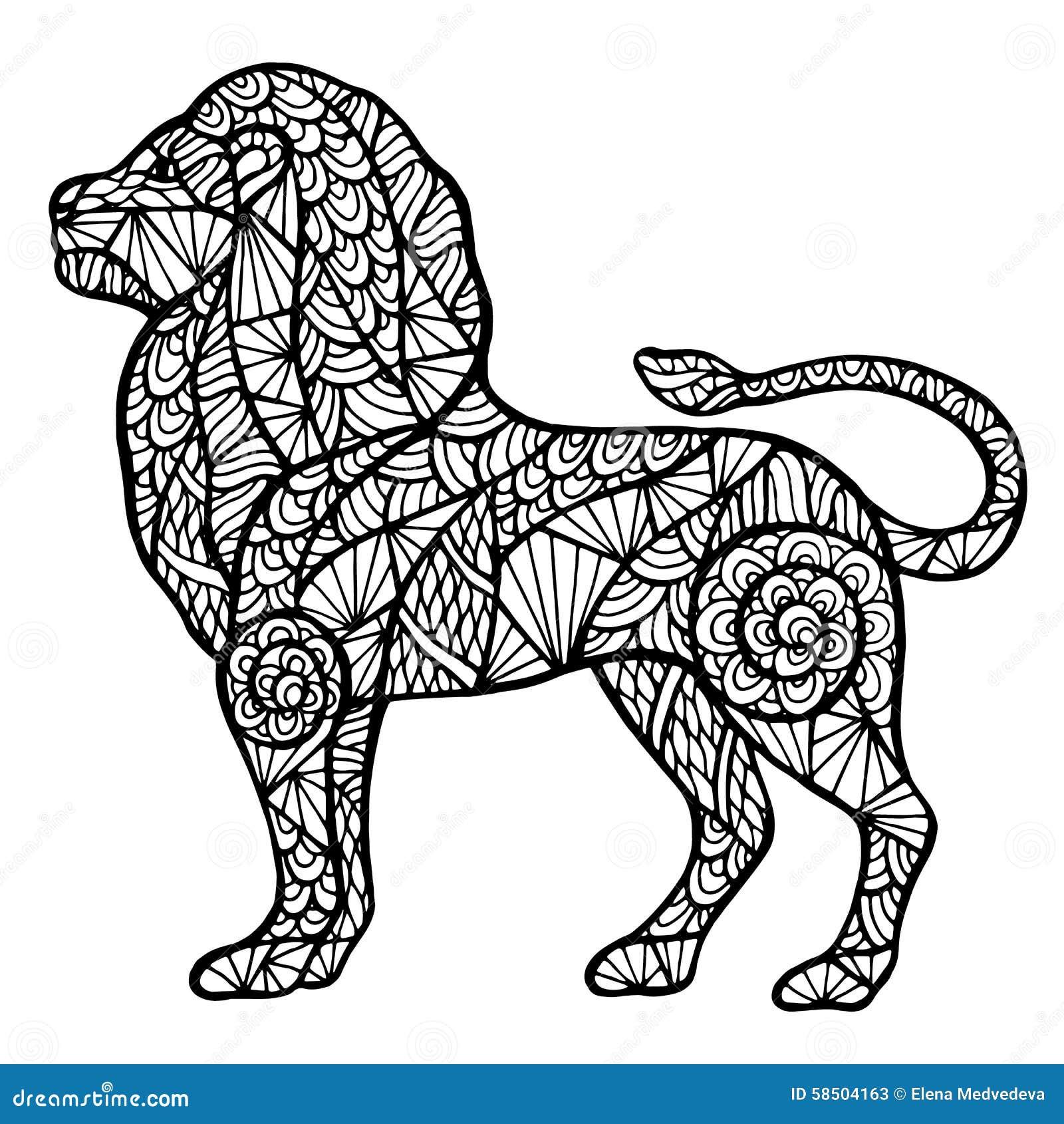 Carrousel Kleurplaat Zentangle Stilizzato Del Leone Illustrazione Vettoriale