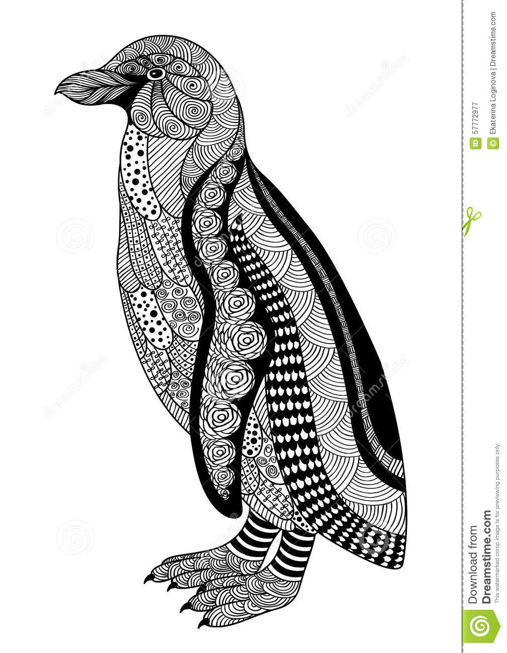 Zentangle Style Black And White Ornamental Penguin On A