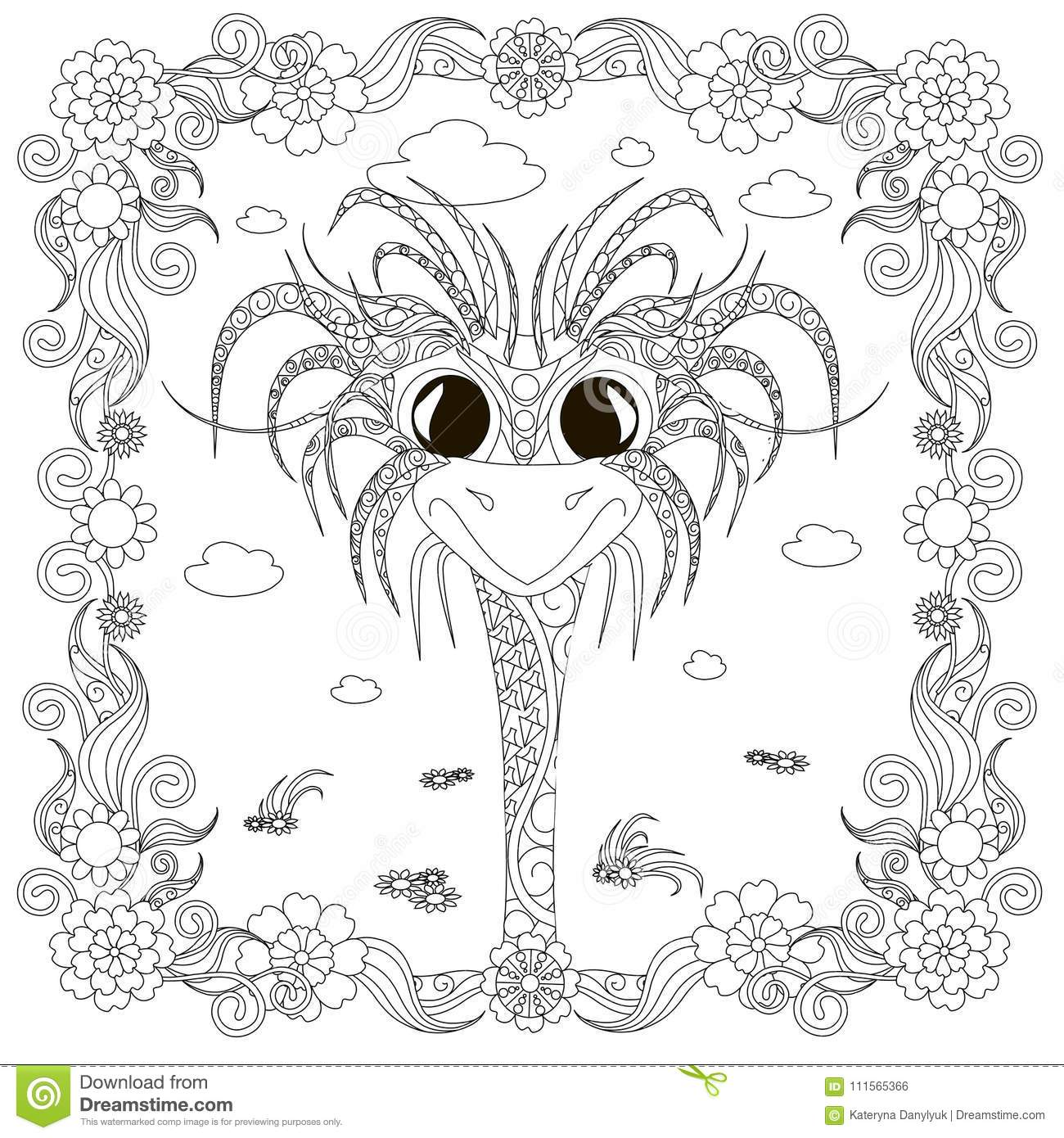 Zentangle Style Cheerful Ostrich Head In Flower Frame Monochrome ...