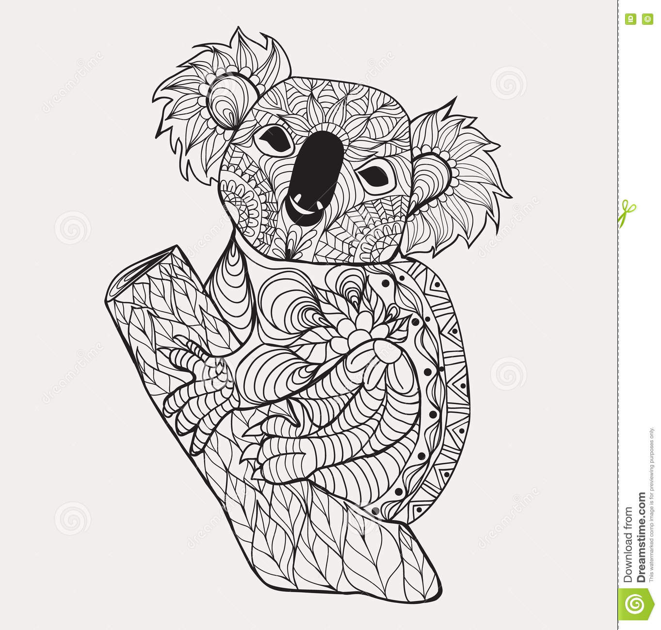 Drawing zentangle koala for coloring page shirt design for Decoration drawing