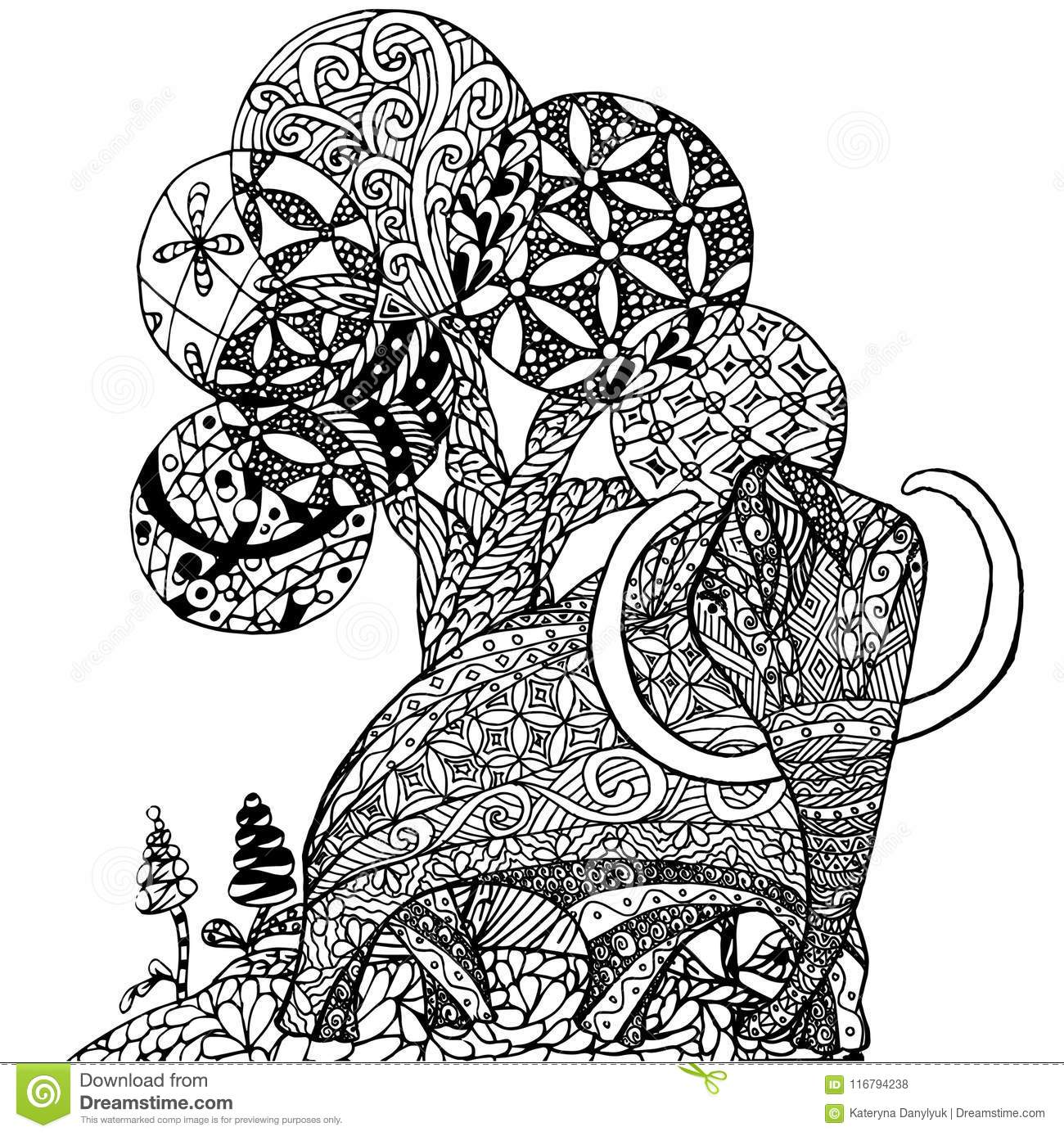 zentangle style monochrome sketch mammut and tree coloring page