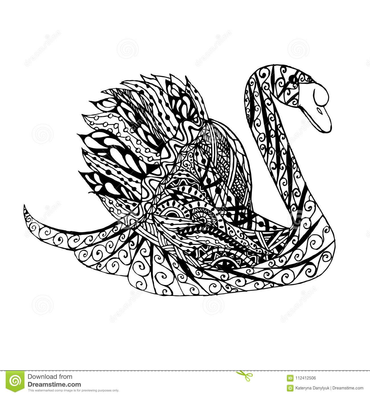 zentangle style swan monochrome sketch coloring page antistress stock vector illustration zentangle style swan monochrome sketch