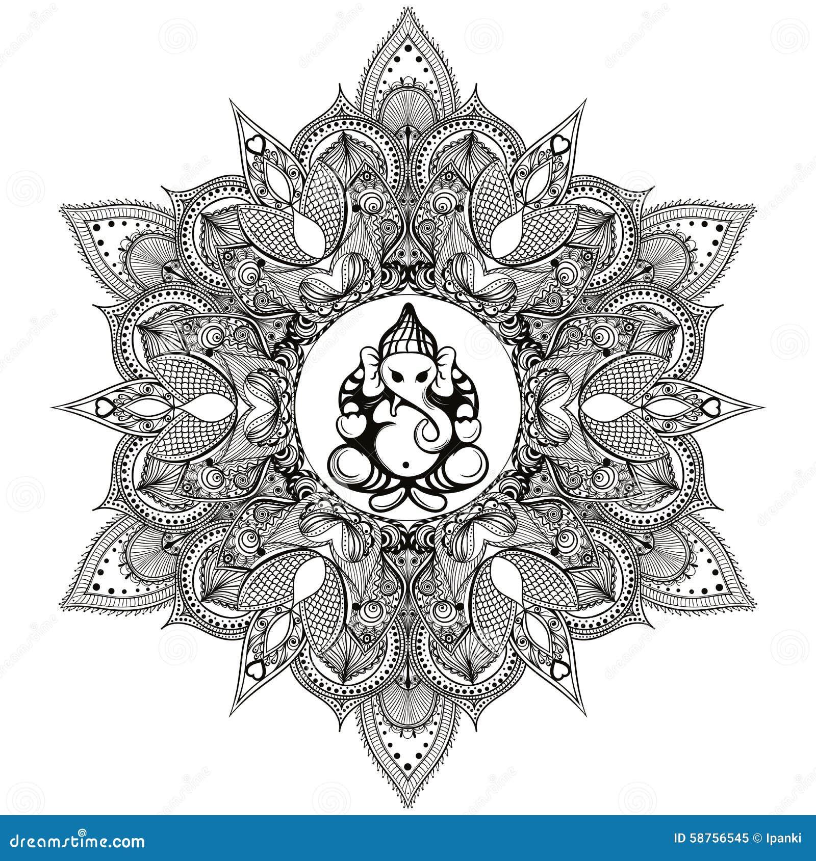 Zentangle a stylis autour du mandala indien avec dieu indou d 39 l phant illustration de vecteur - Elephant indien dessin ...