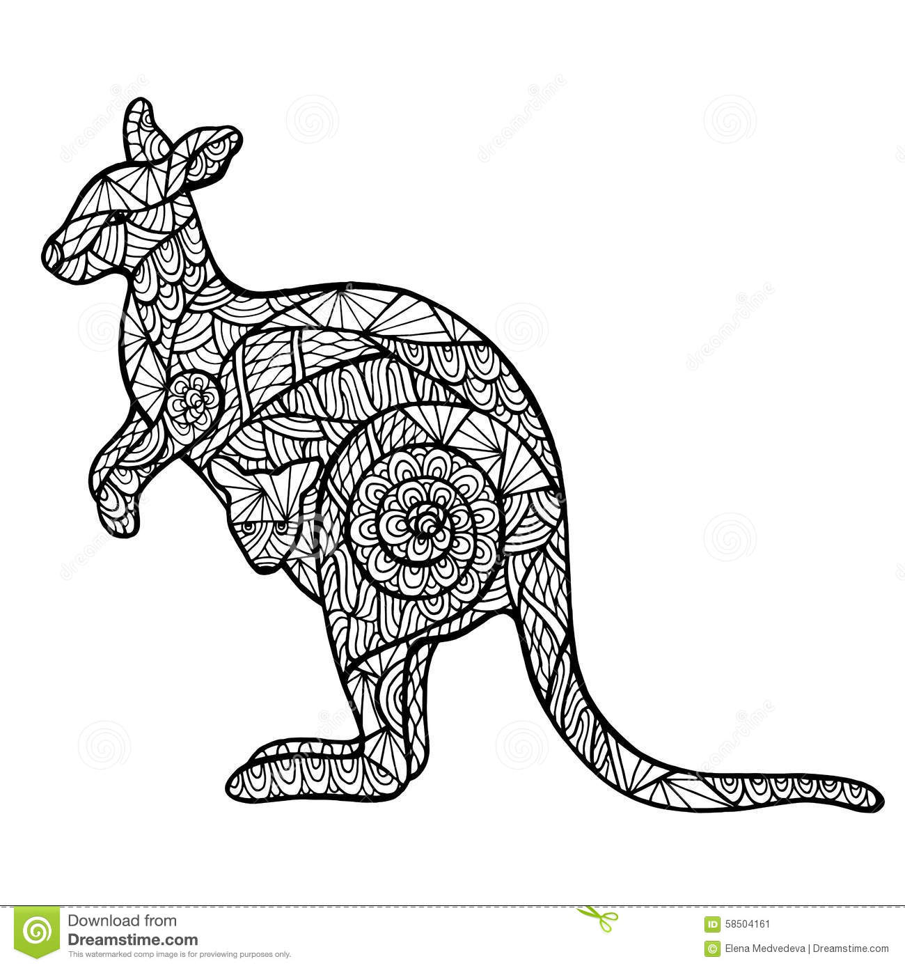 Line Art Kangaroo : Zentangle stylisé de kangourou illustration vecteur