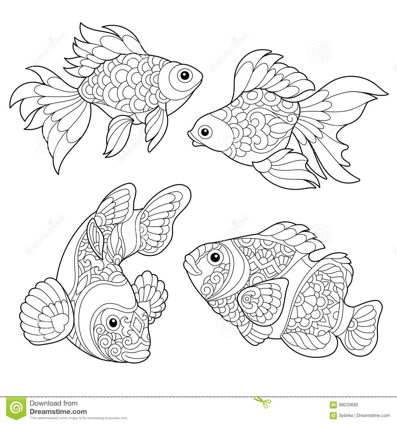 Mandala fond zentangle dessin poisson stylis - Dessin poisson stylise ...