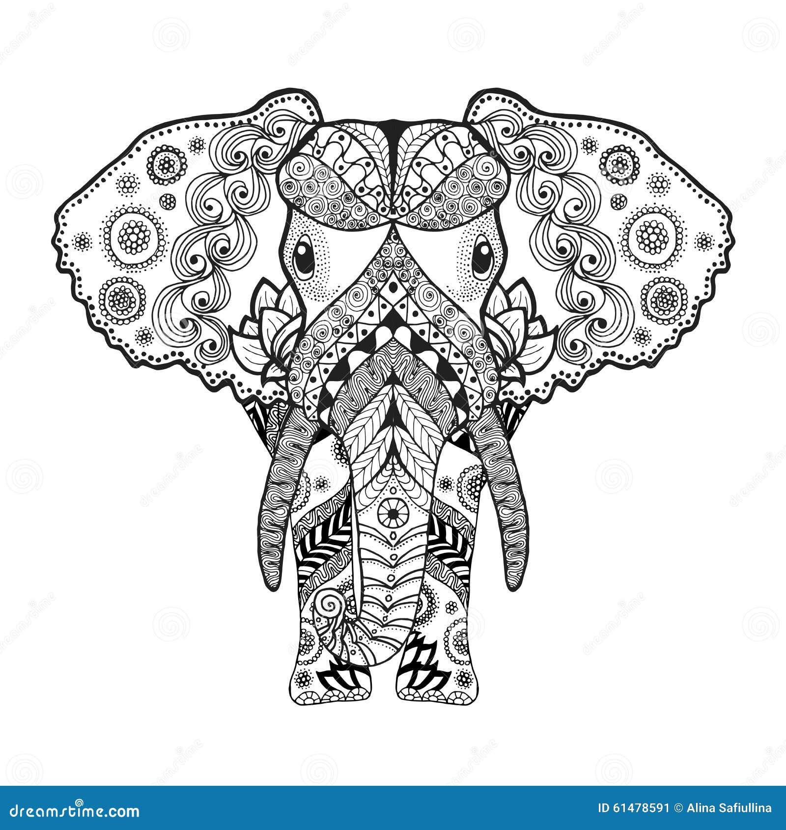 Zentangle a stylis l 39 l phant illustration de vecteur illustration du indien fond 61478591 - Elephant indien dessin ...