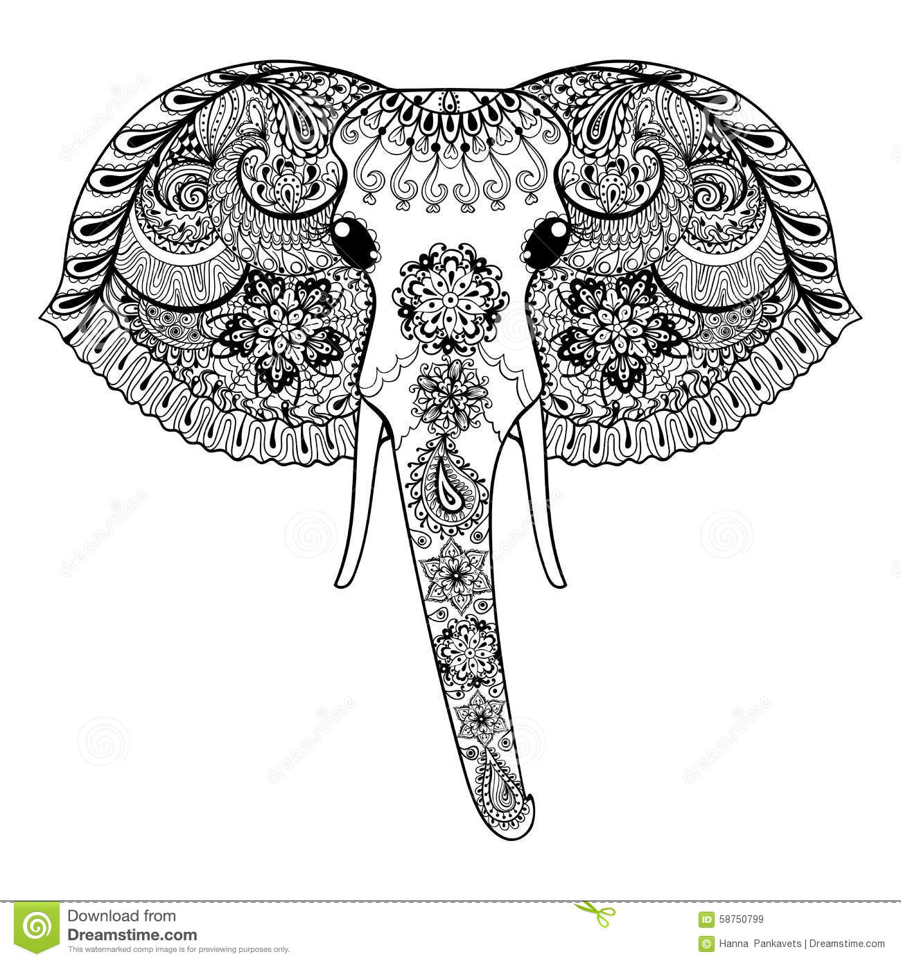 zentangle a stylis l 39 l phant d 39 asie vecteur tir par la main il de paisley illustration de. Black Bedroom Furniture Sets. Home Design Ideas
