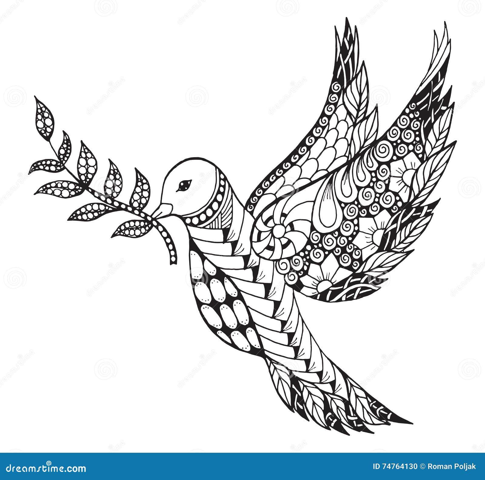 zentangle a stylis la colombe de paix avec la branche d 39 olivier pour internationa illustration. Black Bedroom Furniture Sets. Home Design Ideas