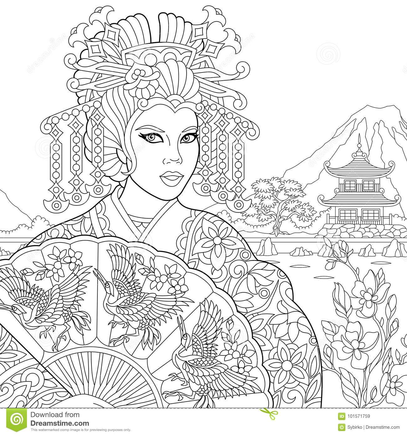 Coloriage Anti Stress Danse.Zentangle A Stylise La Femme De Geisha Illustration De