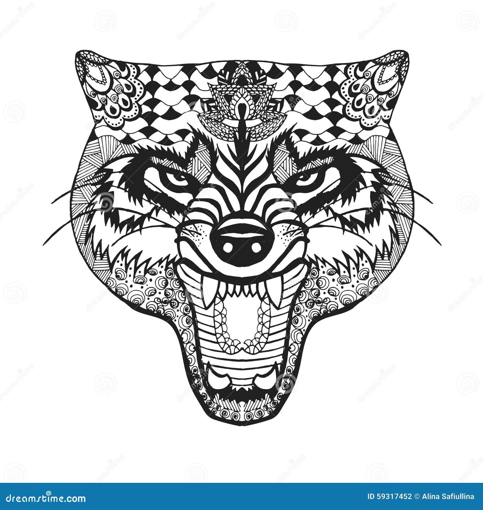 Kleurplaten Pupp S Zentangle A Stylis 233 Le Loup Croquis Pour Le Tatouage Ou Le