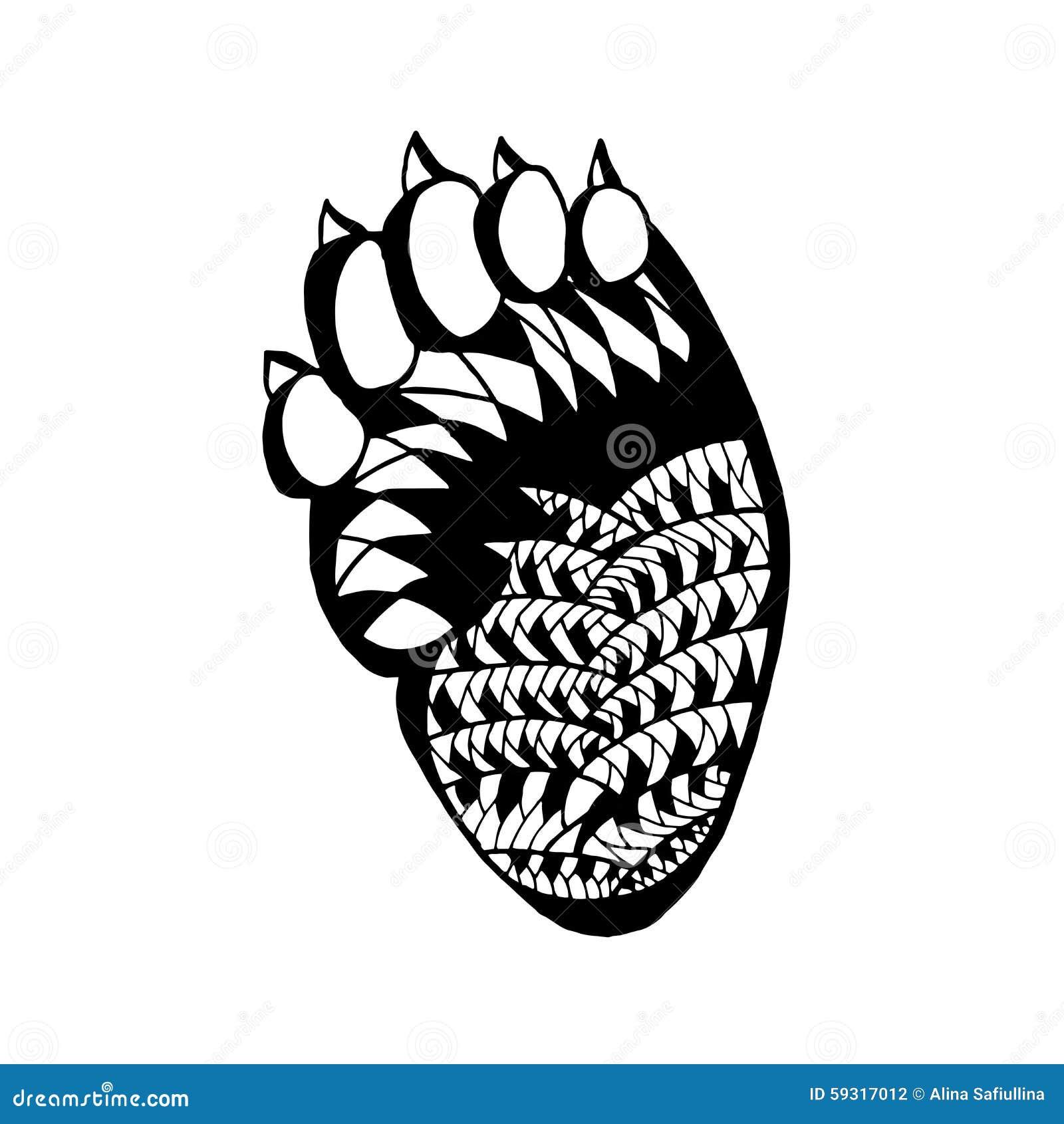 zentangle a stylis la patte d 39 ours croquis pour le tatouage ou le t shirt illustration de. Black Bedroom Furniture Sets. Home Design Ideas