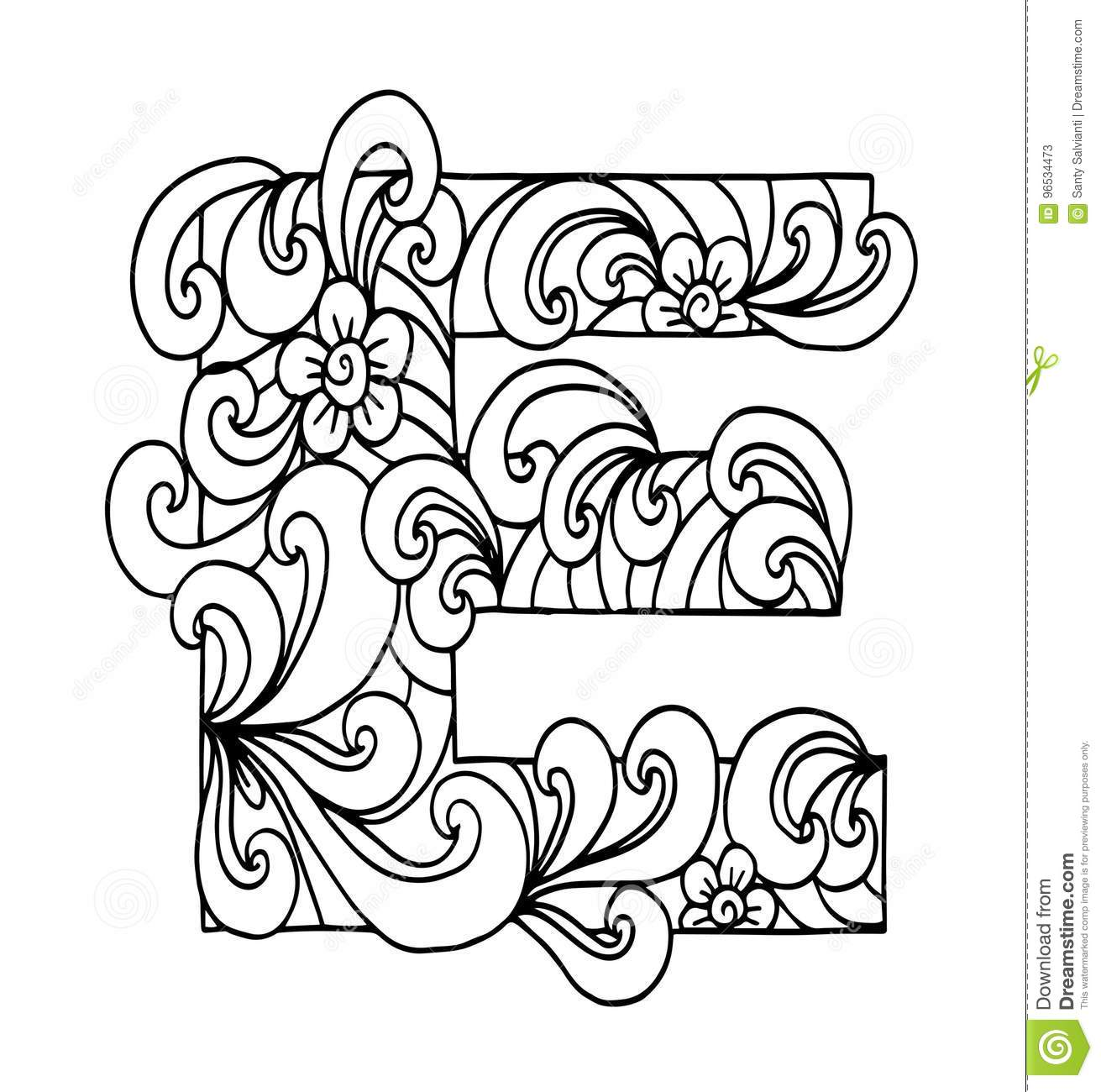 Zentangle Stylized Alphabet Letter E In Doodle Style Hand Drawn