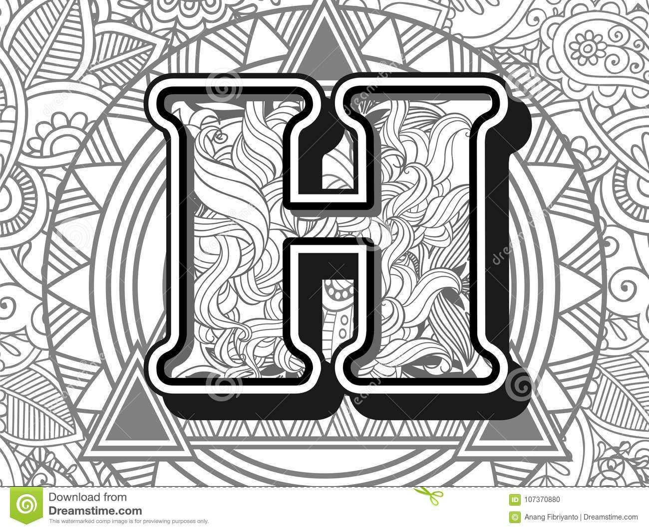 Zentangle Stylized Alphabet Letter H Black And White Hand Drawn