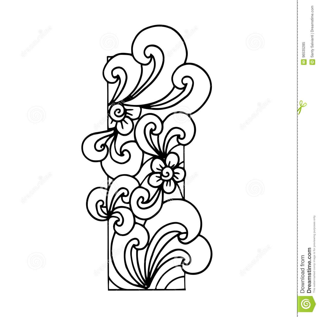 Download Zentangle Stylized Alphabet Letter I In Doodle Style Stock Illustration