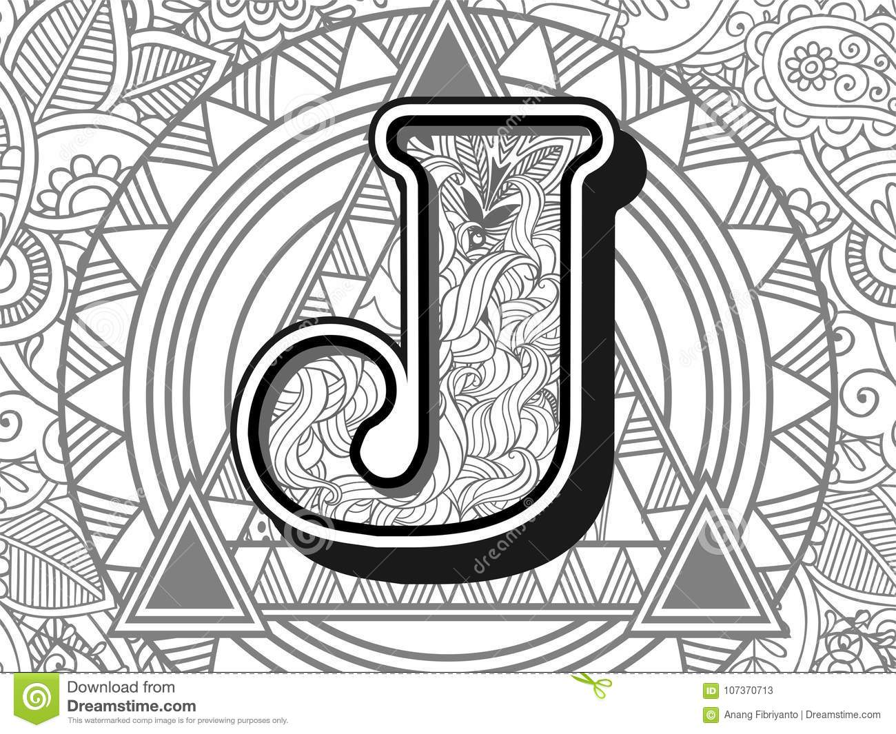 Zentangle Stylized Alphabet Letter J Black And White Hand Drawn
