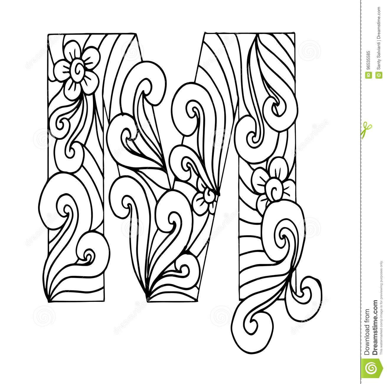 Zentangle Stylized Alphabet Letter M In Doodle Style Stock Vector