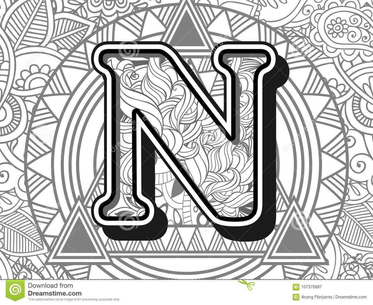 Zentangle Stylized Alphabet Letter N Black And White Hand Drawn